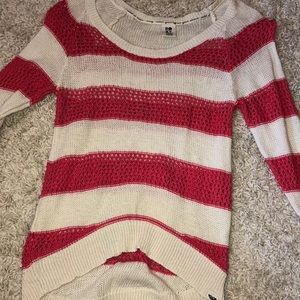 Pink and white striped sweater